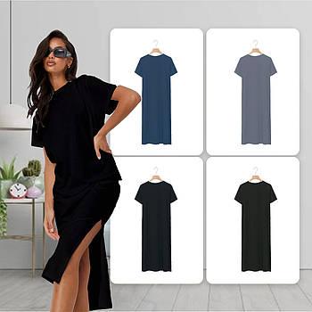 Модное однотоннее платье черного цвета (базовый гардероб) ТМ СДВУ модель SD2