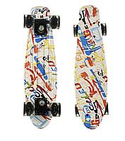 Скейт пенни борд со светящимися колесами Penny Print Collection Pop Art 1356 White-Red-Blue