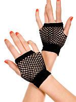 Короткие перчатки без пальцев из сетки