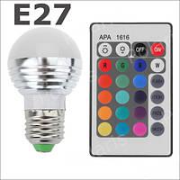 Светодиодная LED лампа RGB 3 ватт E27 с пультом ДУ