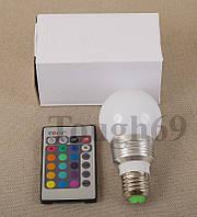 RGB лампа 5 ватт E27 с пультом ДУ