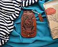 """Ключниця з кільцем з натуральної шкіри з художнім тисненням """"Морський вовк"""", фото 7"""
