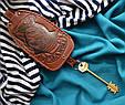 """Ключниця з кільцем з натуральної шкіри з художнім тисненням """"Морський вовк"""", фото 3"""