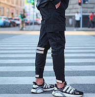 Спортивные штаны мужские с манжетом карго весна-осень-лето с карманами черный Турция. Живое фото