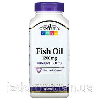 21st Century, Рыбий жир 1200 мг, Fish Oil, 90 мягких желатиновых капсул