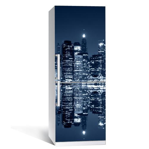 Интерьерная виниловая наклейка на холодильник Ночной город 2 (пленка самоклеющаяся фотопечать)