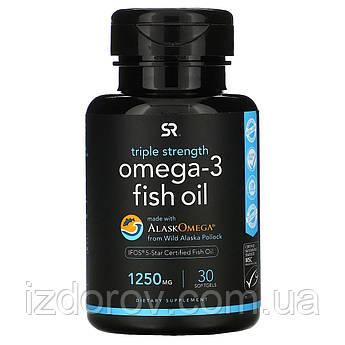 Sports Research, Рыбий жир с Омега-3, тройная сила, 1250 мг, 30 мягких желатиновых капсул