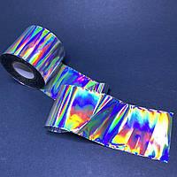 Фольга битое стекло для дизайна ногтей 1м голограма цветная