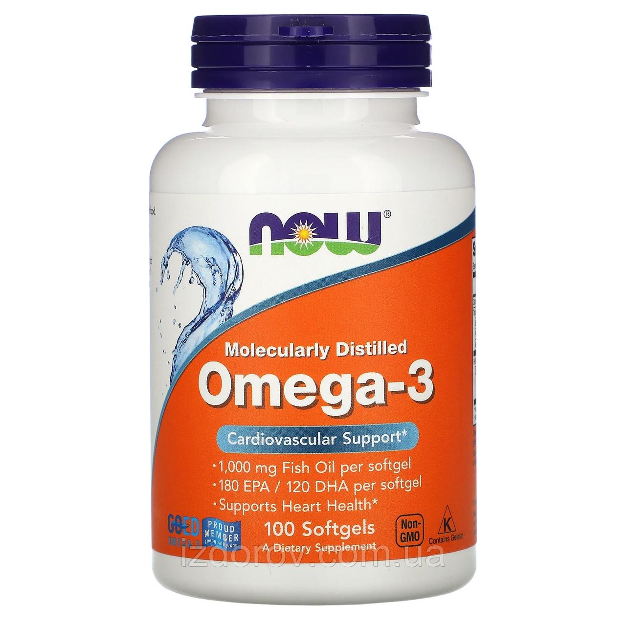 Now Foods, Омега-3, 180 EPA/120 DHA, Omega 3, 100 капсул