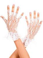 Гипюровые белые свадебные короткие перчатки