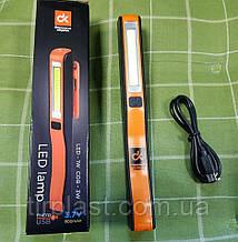 Фонарик LED на аккумуляторах USB лампа переносная LED с зарядкой с магнитом