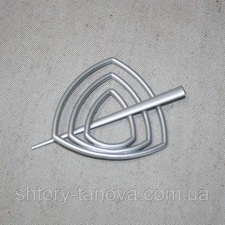 Заколка треугольник для нитяных штор серебро матовое 95мм