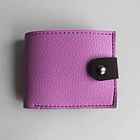 Гаманець женский кошелек с экокожи на магнитной кнопке VIOLET+black HALF мини-кошелек половинка ручной работы
