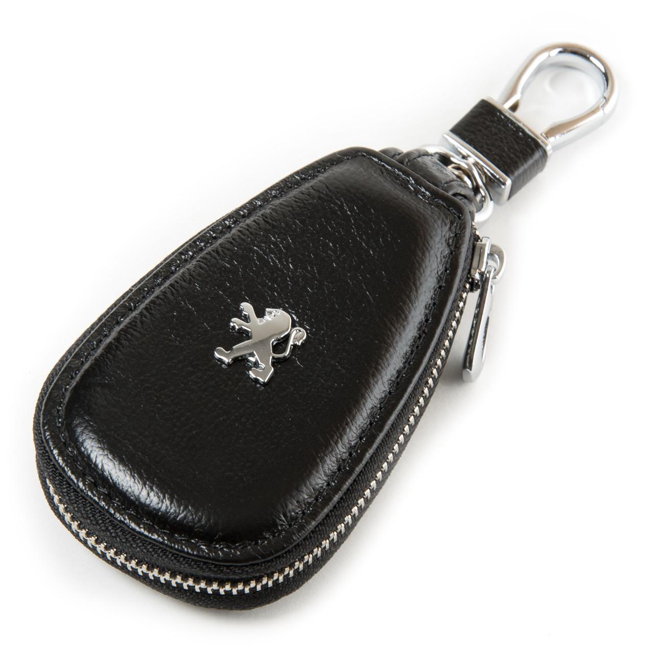 Ключниця для автомобільних ключів шкіряна чорна Dr.Bond F633