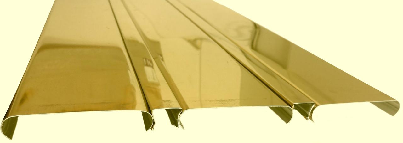 Реечный алюминиевый потолок Allux золото зеркальное глянцевое комплект 400 см х 400 см