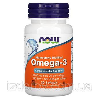 Now Foods, Омега-3, 180 EPA/120 DHA, Omega 3, 30 капсул