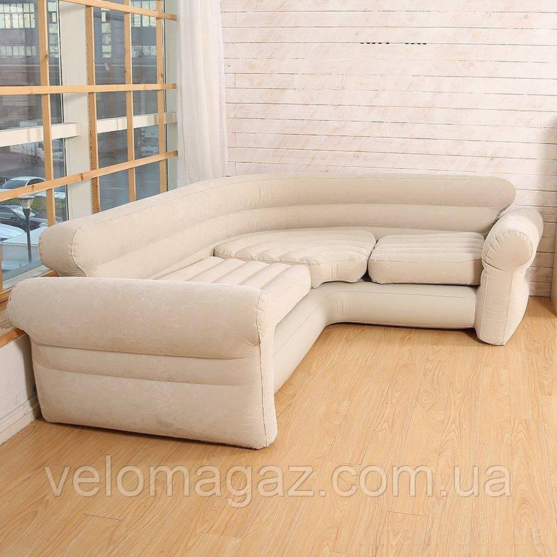 Надувной флокированный угловой диван со спинкой (257*203*76 см) INTEX 68575