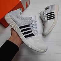 Кроссовки мужские Nike Roshe Run white летние кеды реплика adidas