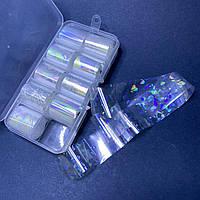 Фольга для дизайна ногтей в контейнере, набор 10шт голограма прозрачная