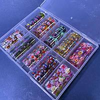 Фольга для литья дизайна ногтей в контейнере, набор 10шт