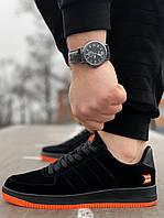 Мужские кроссовки Черные с оранжевой подошвой эко замш весна/лето/осень обувь мужская Размеры 41,42,43,44,45