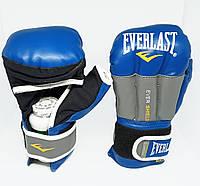 Перчатки гибридные для единоборств ММА 10 ун синий/серый