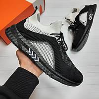 Кроссовки мужские Nike Roshe Run black white летние кеды реплика adidas
