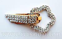 """Шубный крючок-застежка 6,0 см, под золото, фигурная, со стразами, """"Цветок"""""""