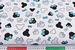 """Клапоть тканини """"Маленькі Міккі з блакитним бантом на білому тлі, №2826, розмір 30*80 см, фото 3"""
