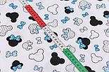 """Клапоть тканини """"Маленькі Міккі з блакитним бантом на білому тлі, №2826, розмір 30*80 см, фото 5"""