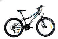 """Горный подростковый велосипед Azimut Forest 24""""D стальная рама 12,5"""" 21 скорость собран.в коробке  черно-синий"""