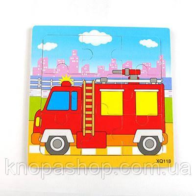 Деревянные пазлы  транспорт. Пожарная