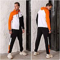 Чоловічий спортивний костюм Nike AIR з двуніткі чорно/помаранчевий (4 кольори) РВ/-42325
