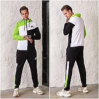 Чоловічий спортивний костюм Nike AIR з двуніткі чорно/лайм (4 кольори) РВ/-42325