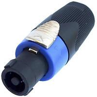 Штекер Спикон 4-х контактный, под шнур, корпус пластик HQ