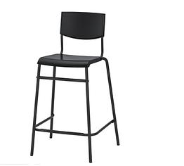 IKEA STIG (304.984.18) Барний стілець зі спинкою, чорний/чорний 63 см