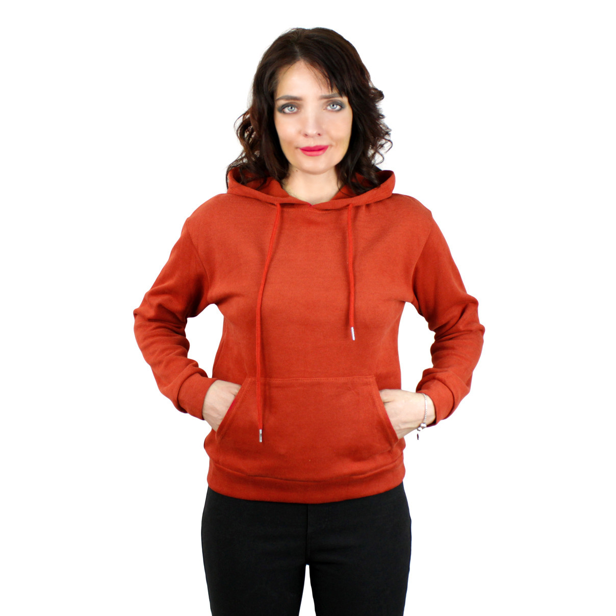 Молодіжні худі однотонні з кишенею повсякденні жіноче худі з капюшоном Burgundy