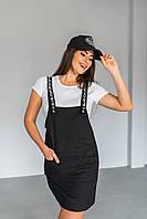 Платье женское летнее + Футболка Eilish черное | Сарафан женский с лямками летний короткий ЛЮКС качества