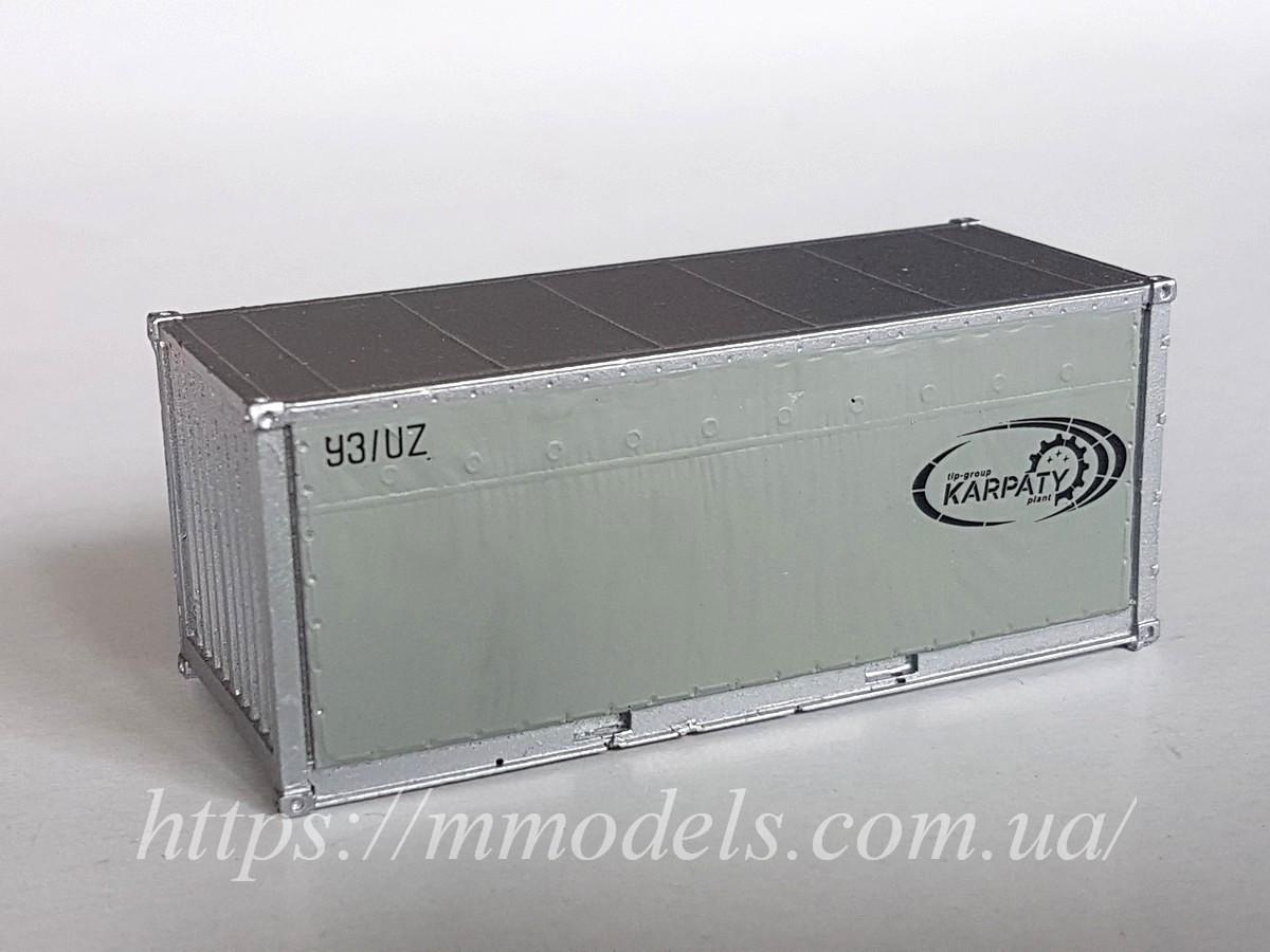 """Аксесуари для залізничного моделювання - 20 футовий Контейнер """"Karpaty trans"""", приналежності УЗ,1/87"""