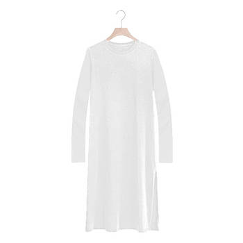 Модное однотоннее платье белого цвета  модель SD2 с длинным рукавом для сублимации