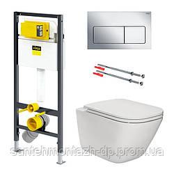 Комплект: GAP Rimless унитаз подв. с сид. Slim + PREVISTA DRY элемент для унитаза 112*49cм + комплект крепл.