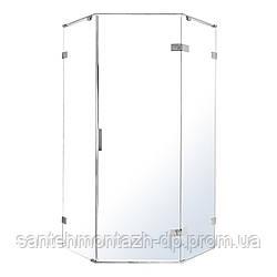 NEMO душевая кабина 90*90*195см 5-ти угольная, правая, распашная, прозрачное стекло 8мм, зеркальный хром