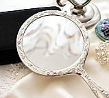 Красивое посеребренное ручное зеркало, зеркало с ручкой, серебрение, Англия, винтаж, фото 7