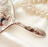 Красивое посеребренное ручное зеркало, зеркало с ручкой, серебрение, Англия, винтаж, фото 6