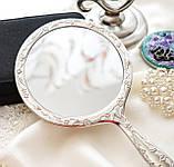 Красивое посеребренное ручное зеркало, зеркало с ручкой, серебрение, Англия, винтаж, фото 2