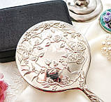 Красивое посеребренное ручное зеркало, зеркало с ручкой, серебрение, Англия, винтаж, фото 5
