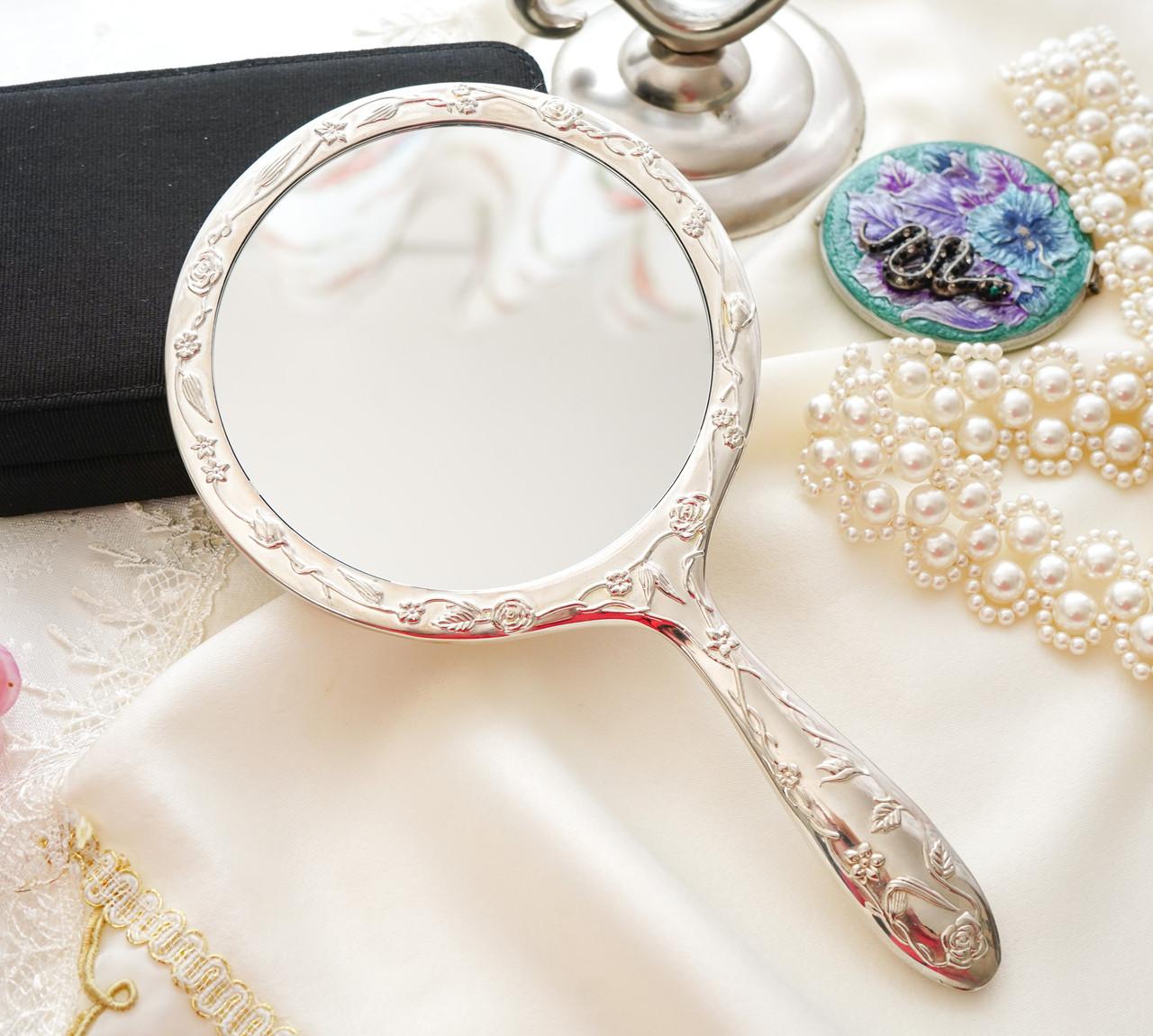 Красивое посеребренное ручное зеркало, зеркало с ручкой, серебрение, Англия, винтаж