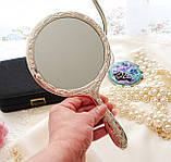 Красивое посеребренное ручное зеркало, зеркало с ручкой, серебрение, Англия, винтаж, фото 8