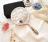 Красивое посеребренное ручное зеркало, зеркало с ручкой, серебрение, Англия, винтаж, фото 4