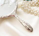 Красивое посеребренное ручное зеркало, зеркало с ручкой, серебрение, Англия, винтаж, фото 3